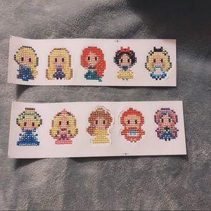 Handmade Disney Princess 3D Pixel Art Stickers